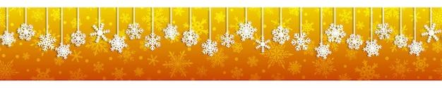 Kerst naadloze banner met witte hangende sneeuwvlokken met schaduwen op gele achtergrond