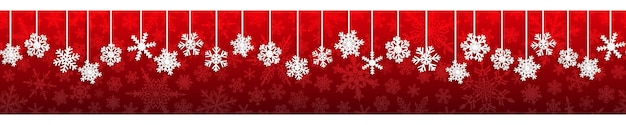 Kerst naadloze banner met witte hangende sneeuwvlokken met schaduwen op rode achtergrond