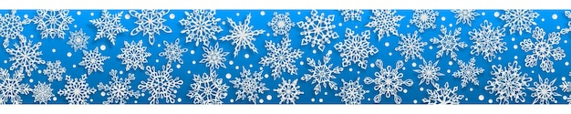 Kerst naadloze banner van papier sneeuwvlokken met zachte schaduwen op lichtblauwe achtergrond. met horizontale herhaling