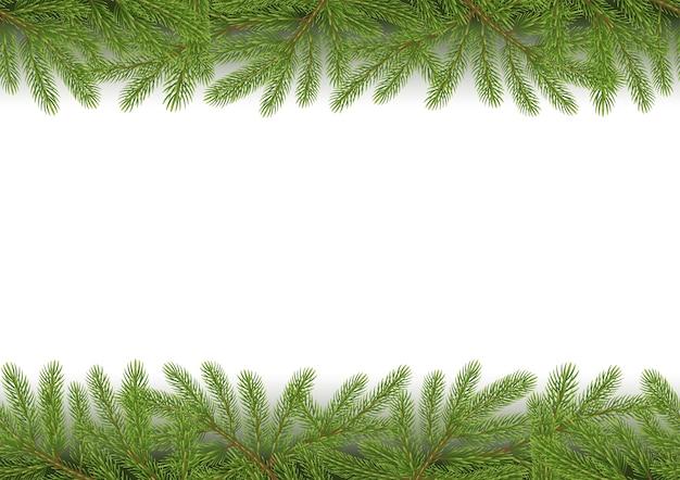 Kerst naadloze grens met pijnboomtakken
