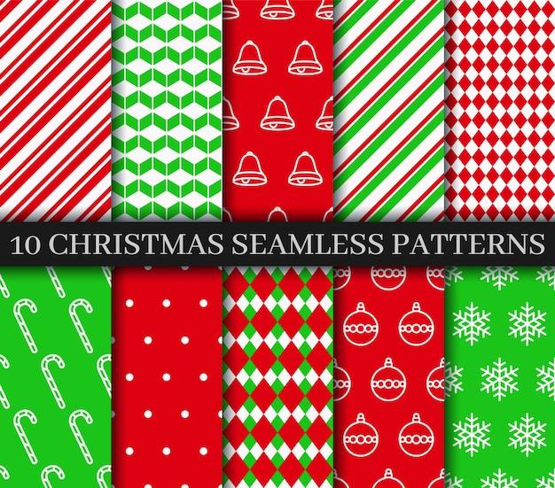 Kerst naadloze patronen collectie. xmas nieuwjaar textuur. vakantie inpakpapier.