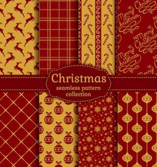 Kerst naadloze patronen collectie.