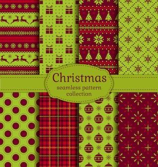 Kerst naadloze patronen ingesteld