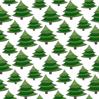 Kerst naadloze patroon. groene vector verpakkende textuur met nieuwjaarboom. heldere achtergrond voor vakantiedecoratie