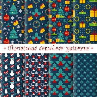 Kerst naadloze patroon ingesteld met kleur plat pictogrammen op een blauwe achtergrond. xmas vakantie vector ontwerp van proefbaan voor wenskaarten, uitnodiging, wallpapers, stof, textiel, pakket, inwikkeling. Premium Vector