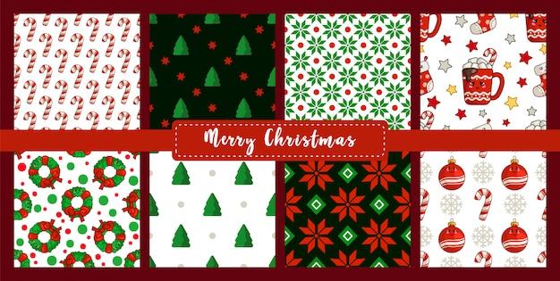 Kerst naadloze patroon ingesteld met nieuwjaar tekens
