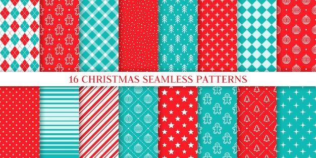 Kerst naadloze patroon. kerstmis, nieuwjaar textuur. achtergronden met peperkoekmannetje, boom, sneeuw, plaid, bal, ster, strepen, ruit. stel afdrukken in. feestelijk inpakpapier. rode blauwe illustratie