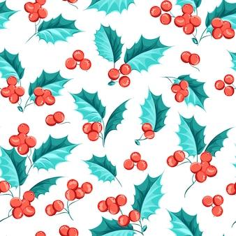 Kerst naadloze patroon. maretak op witte achtergrond.