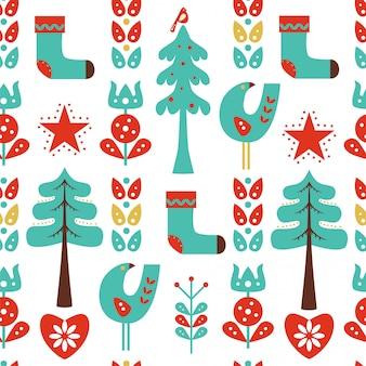 Kerst naadloze patroon met bloemen, vogels en sokken.
