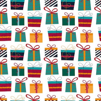 Kerst naadloze patroon met cadeautjes op witte achtergrond. hand getekende vectorillustratie