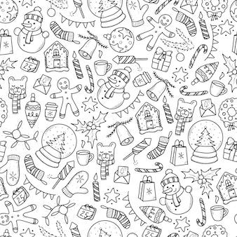 Kerst naadloze patroon met doodles