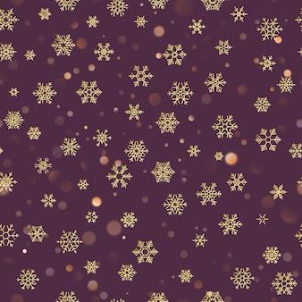 Kerst naadloze patroon met gouden sneeuwvlokken op donkere paarse pastel achtergrond. vakantieontwerp voor kerstmis en nieuwjaardecoratie.