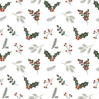 Kerst naadloze patroon met hulst bessen en bladeren