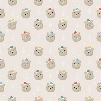 Kerst naadloze patroon met ijsbeer geïsoleerd op een grijze achtergrond