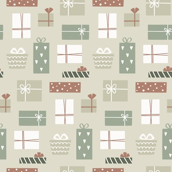 Kerst naadloze patroon met leuke geschenkdozen. hand getrokken naadloze patroonvullingen, inpakpapier.