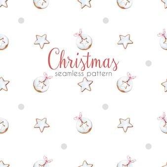 Kerst naadloze patroon met peperkoek. aquarel patroon