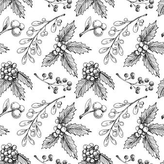 Kerst naadloze patroon met plant. schets, vector.