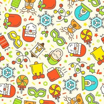 Kerst naadloze patroon met plat pictogrammen.