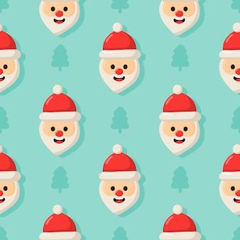 Kerst naadloze patroon met santa geïsoleerd op blauwe achtergrond.