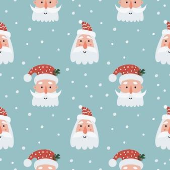 Kerst naadloze patroon met santa gezichten