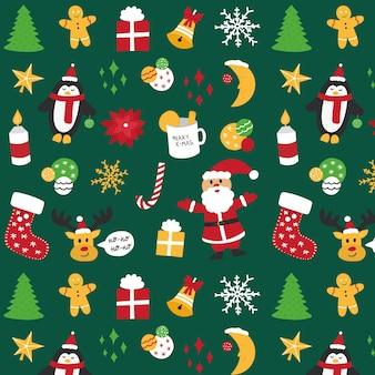 Kerst naadloze patroon met santa, pinguïn, herten, ballonnen, sneeuwvlokken, kaars. premium vector