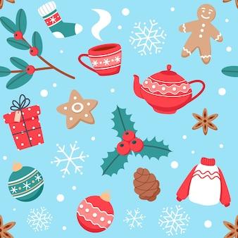 Kerst naadloze patroon met schattige bekers, kruiden, gemberkoekjes en nieuwjaars versieringen