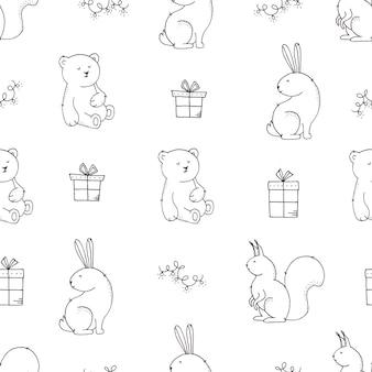 Kerst naadloze patroon met schattige dieren, geschenkdozen en slingers op wit.