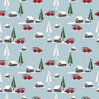 Kerst naadloze patroon met schattige geboortestad