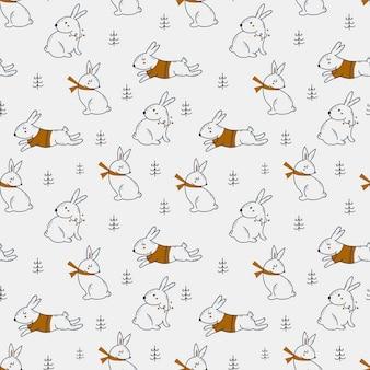 Kerst naadloze patroon met schattige hazen.