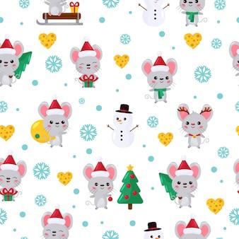 Kerst naadloze patroon met schattige kawaii muis.