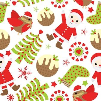 Kerst naadloze patroon met schattige kerstman en xmas ornamenten