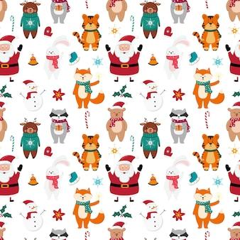 Kerst naadloze patroon met sneeuwpop, santa claus en schattige dieren op witte achtergrond. hand getekende vectorillustratie