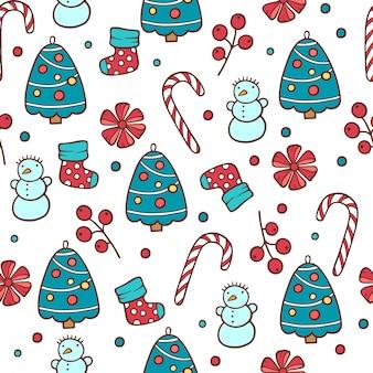Kerst naadloze patroon met sneeuwpop, sparren en riet van het suikergoed