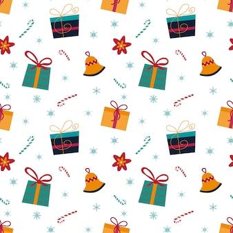 Kerst naadloze patroon met sneeuwvlokken, snoep, kerstster, bell op witte achtergrond. hand getekende vectorillustratie