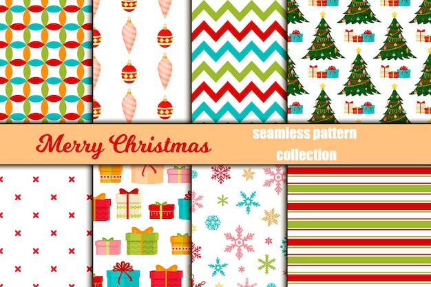 Kerst naadloze patroon prettige kerstdagen en gelukkig nieuwjaar winter vakantie achtergrond decoratief papier vectorillustratie. feestelijke textiel xmas abstract inwikkeling groet sieraad.
