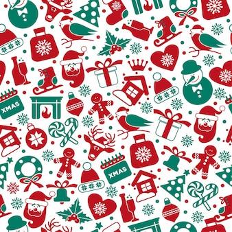 Kerst naadloze patroon van pictogrammen. Gratis Vector