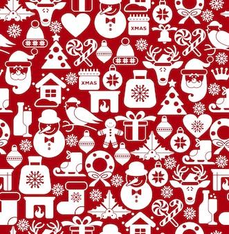 Kerst naadloze patroon van pictogrammen.