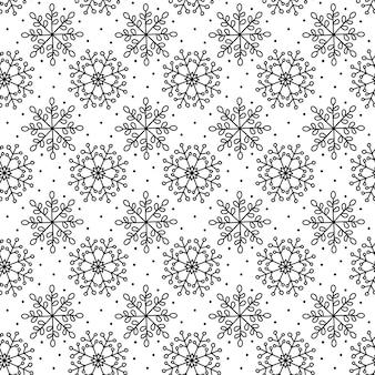 Kerst naadloze patroon. winter sneeuwvlok monoline