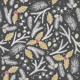 Kerst naadloze patroon, witte achtergrond. pijnboomtakjes, rode bessen, sneeuwvlokken. seizoensgroet digitaal papier. winter kerstvakantie