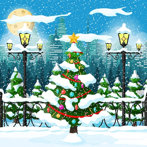 Kerst natuur stadsgezicht