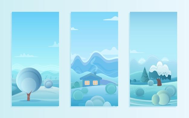 Kerst natuur winterlandschap set met dorpshuizen