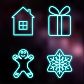 Kerst neon pictogram met gingerman