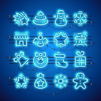 Kerst neon pictogrammen blauw