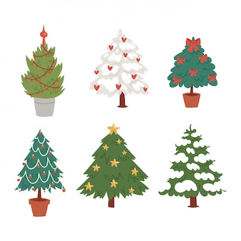 Kerst nieuwjaar boom pictogrammen ornament ster xmas gift vakantie viering winter seizoen partij boom plant.