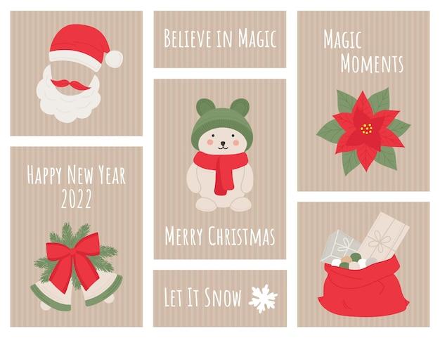 Kerst nieuwjaar etiket, tag, briefkaart, uitnodiging, poster met quotes, santa, klokken, beer, geschenken.