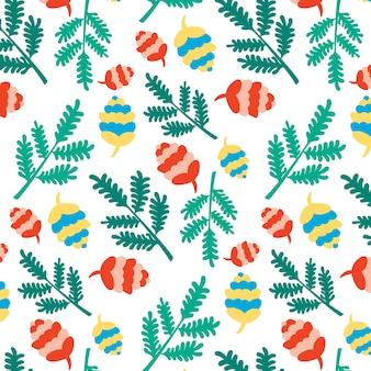 Kerst nieuwjaar patroon naald takken kegels feestelijke achtergrond