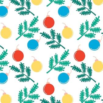 Kerst nieuwjaar patroon naald takken kerst speelgoed feestelijke achtergrond