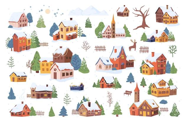 Kerst nieuwjaar winter dorp landschapselementen instellen geïsoleerde platte cartoon design iconen vector Premium Vector