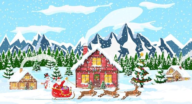 Kerst nieuwjaar winterlandschap
