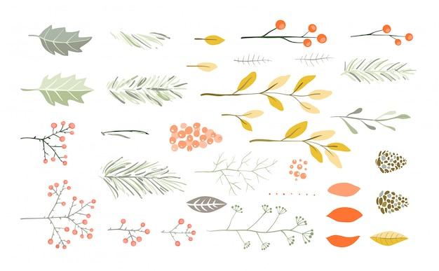 Kerst- of nieuwjaarsborstels voor vakantiegrafiek. dennenboomtakken, bloemen, bessen, dennen en kegels, bladeren.